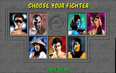 Mortal Kombat Character Selection Screen