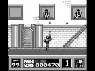RoboCop shooting up gameboy