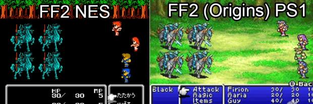 Differences between NES and Origins battle screen.