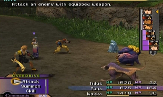 Yuna's turn, then the monster, then Wakka