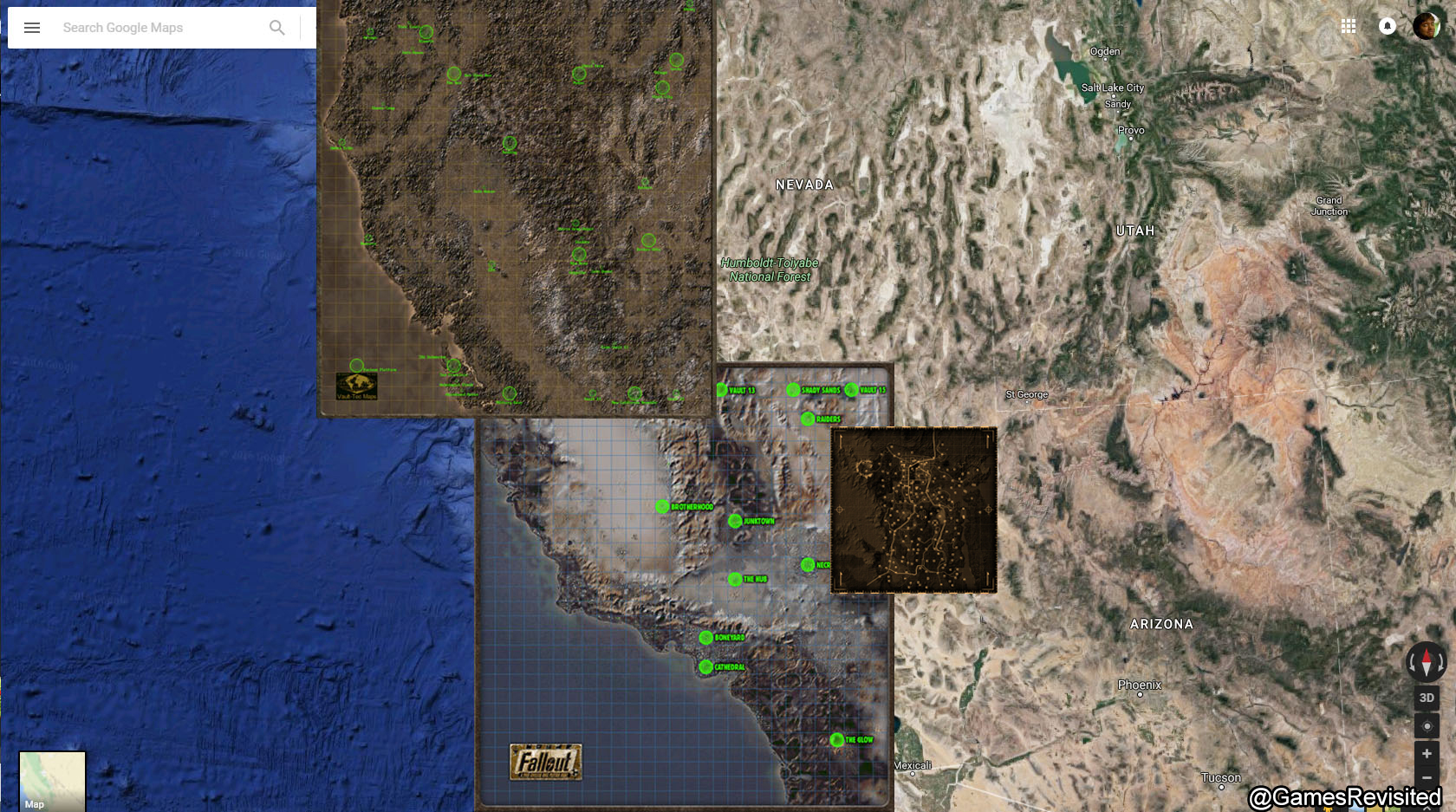 Fallout Las Vegas Map.Fallout Maps Overlayed Games Revisited