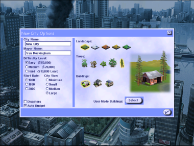 Sim City 3000 new city screen