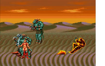 That flaming person sprite looks awfully familiar to the one in Street Fighter 2!