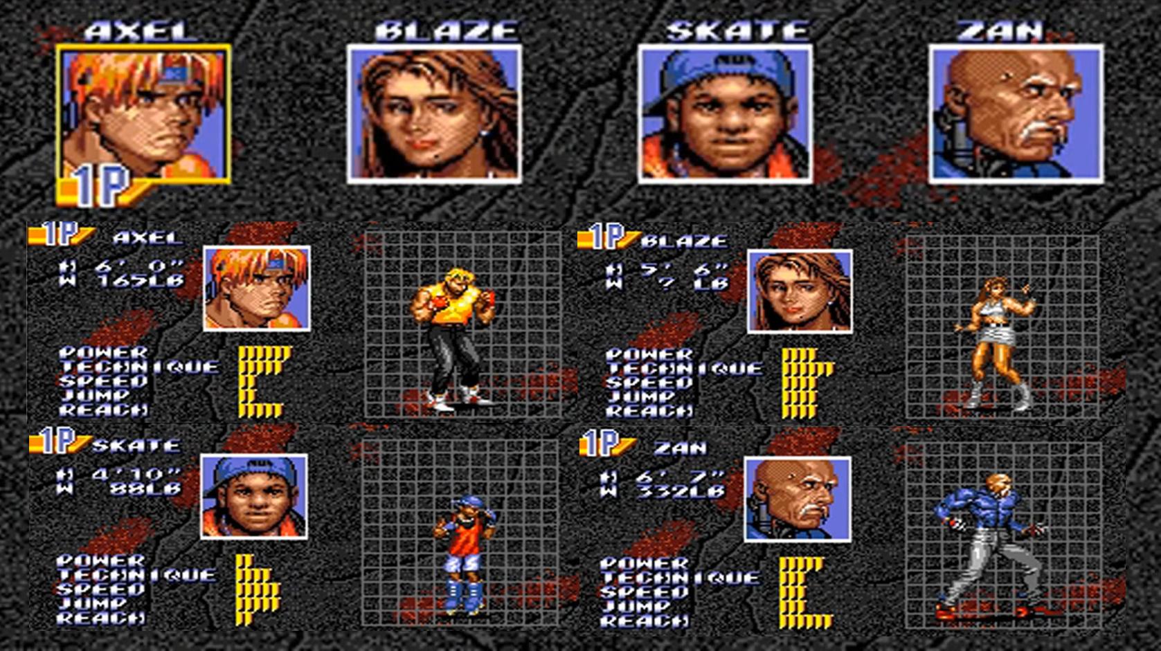 Resultado de imagem para street of rage 3 characters